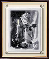 30087 Свеча и роза. Dream Art. Набор алмазной живописи (квадратные, полная)(H5123). Рисование квадратными камнями на холсте