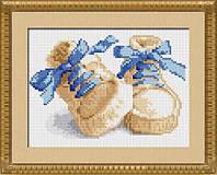 30017 Первые шаги(синий). Dream Art. Набор алмазной живописи (квадратные, полная). Рисование квадратными камнями на холсте