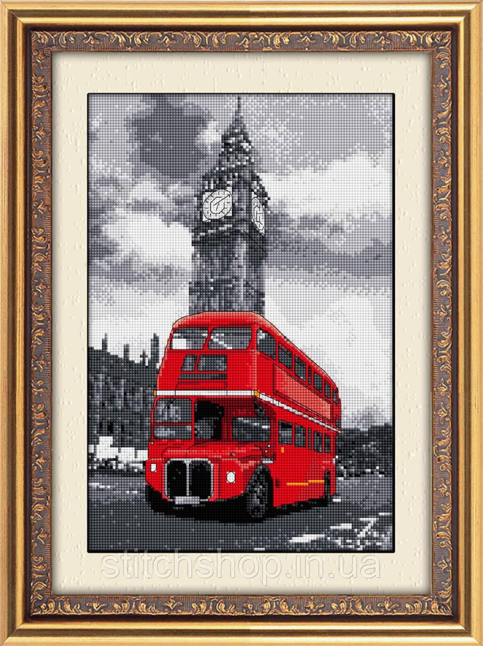 30024 Лондонский автобус. Dream Art. Набор алмазной живописи (квадратные, полная). Рисование квадратными камнями на холсте