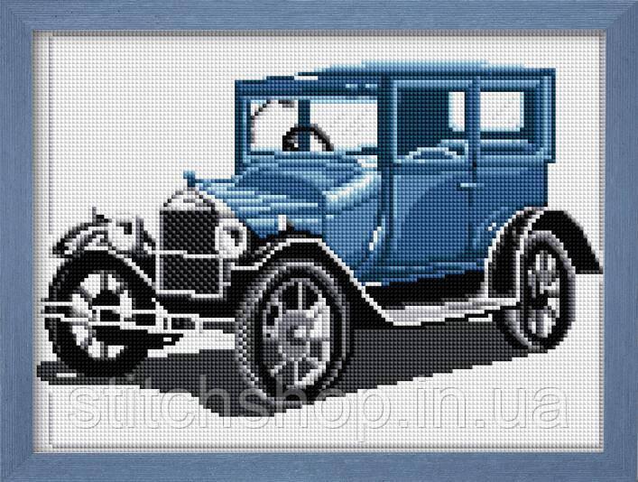 30025 Ретро автомобиль(синий). Dream Art. Набор алмазной живописи (квадратные, полная). Рисование квадратными камнями на холсте