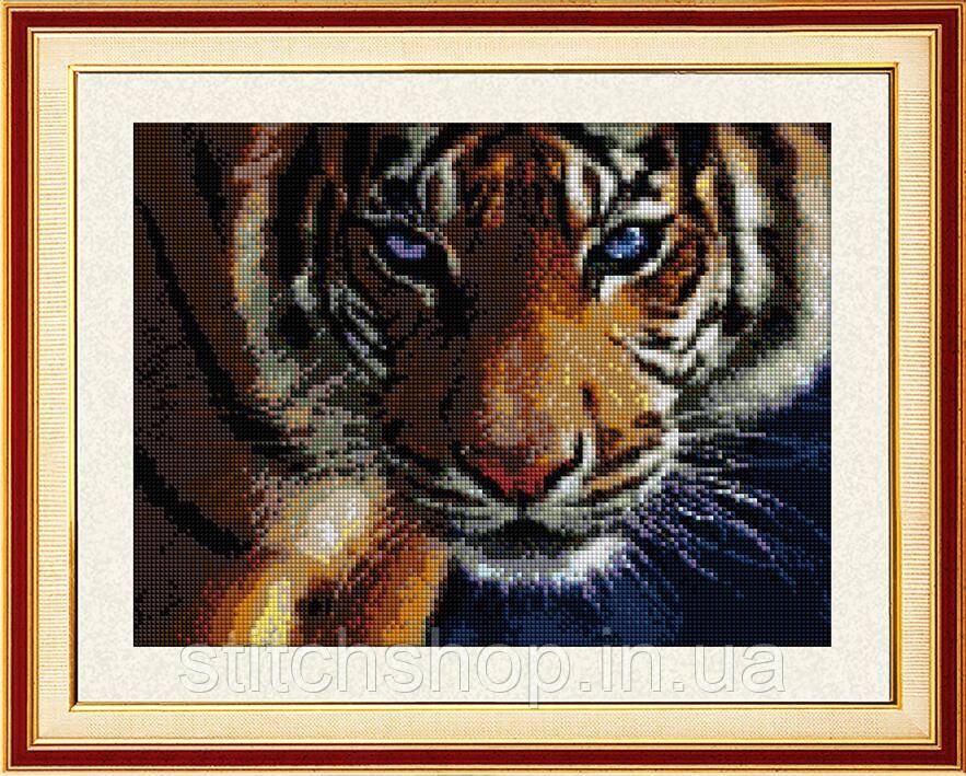 30028 Взгляд тигра. Dream Art. Набор алмазной живописи (квадратные, полная). Рисование квадратными камнями на холсте
