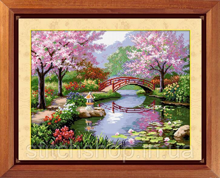 30032 Японский сад. Dream Art. Набор алмазной живописи (квадратные, полная). Рисование квадратными камнями на холсте
