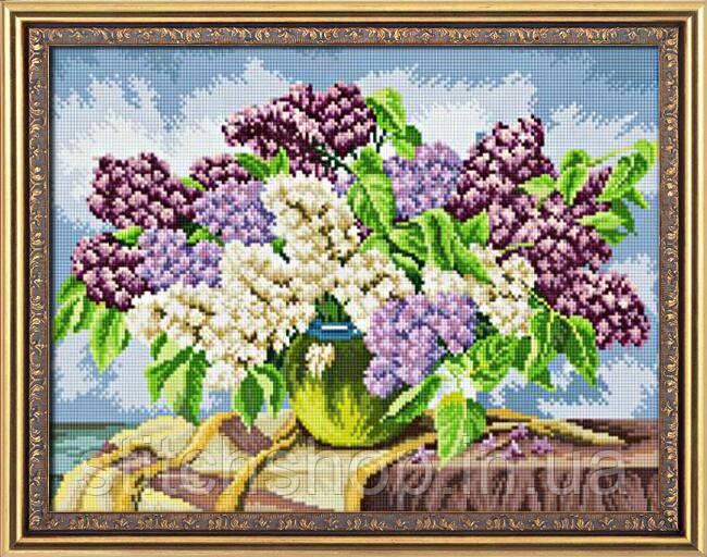 30047 Сирень в вазе. Dream Art. Набор алмазной живописи (квадратные, полная) (035К). Рисование квадратными камнями на холсте