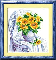 30051 Подсолнухи. Dream Art. Набор алмазной живописи (квадратные, полная). Рисование квадратными камнями на холсте