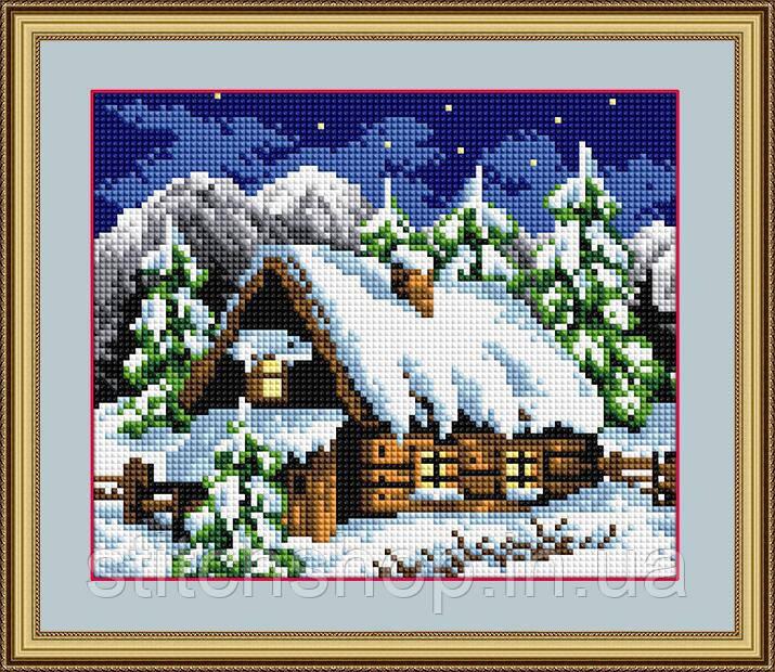 30061 Зимний домик. Dream Art. Набор алмазной живописи (квадратные, полная)(F1601). Рисование квадратными камнями на холсте