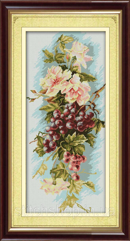 30104 Композиция с виноградом. Dream Art. Набор алмазной живописи (квадратные, полная) (J4100). Рисование квадратными камнями на холсте