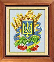30112 Герб Украины 3. Dream Art. Набор для рисования камнями (Z1601). Рисование квадратными камнями на холсте