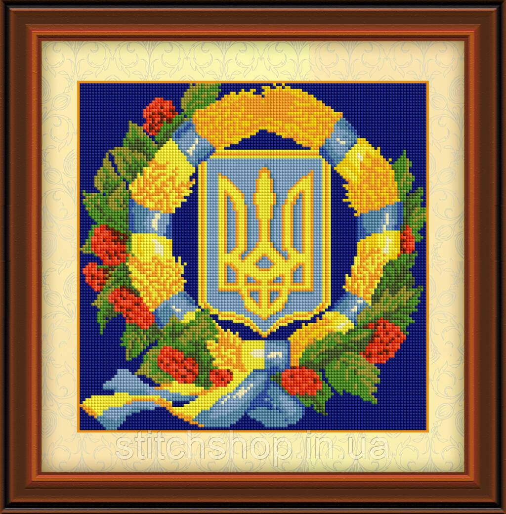 30113 Герб Украины 4. Dream Art. Набор для рисования камнями (Z3501). Рисование квадратными камнями на холсте
