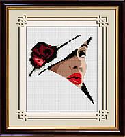 30125 Дама в шляпе. Dream Art. Набор алмазной живописи (квадратные, полная) (R1603). Рисование квадратными камнями на холсте