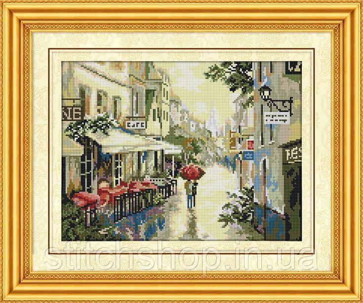 30134 Дождливый вечер в Париже. Dream Art. Набор алмазной живописи (квадратные, полная) (F3632). Рисование квадратными камнями на холсте