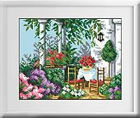 30156 Летняя терасса. Dream Art. Набор алмазной живописи (квадратные, полная)(7208). Рисование квадратными камнями на холсте