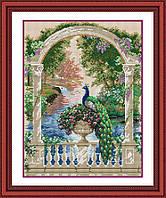 30159 Павлин на балконе. Dream Art. Набор алмазной живописи (квадратные, полная) (D4330). Рисование квадратными камнями на холсте
