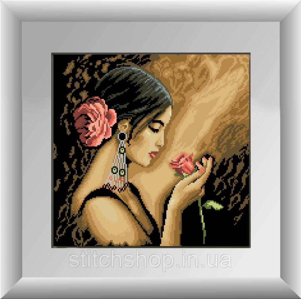 30168 Испанка с цветком. Dream Art. Набор алмазной живописи (квадратные, полная) (D4051). Рисование квадратными камнями на холсте