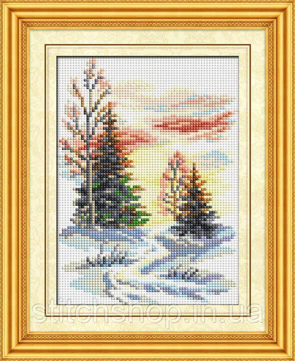 30187 Зимний пейзаж. Dream Art. Набор алмазной живописи (квадратные, полная) (F0502). Рисование квадратными камнями на холсте