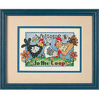 """65053 """"Добро пожаловать в курятник//Welcome to the Coop"""". DIMENSIONS. Набор для вышивания нитками"""