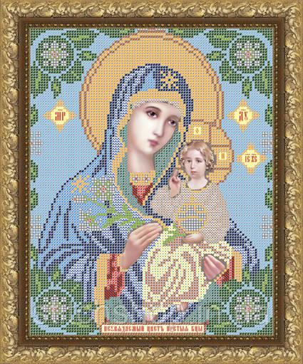 VIA4013 Пресвятая Богородица Неувядаемый цвет. ArtSolo. Схема на ткани для вышивания бисером