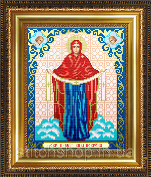 VIA4206 Образ Богородицы Покрова. ArtSolo. Схема на ткани для вышивания бисером