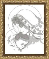VKA3004-В Дева Мария с младенцем (монохром). ArtSolo. Схема на ткани для вышивания бисером