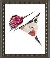 VKA3016 Девушка в шляпе. ArtSolo. Схема на ткани для вышивания бисером