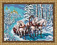 VKA3042 Тройка лошадей. ArtSolo. Схема на ткани для вышивания бисером