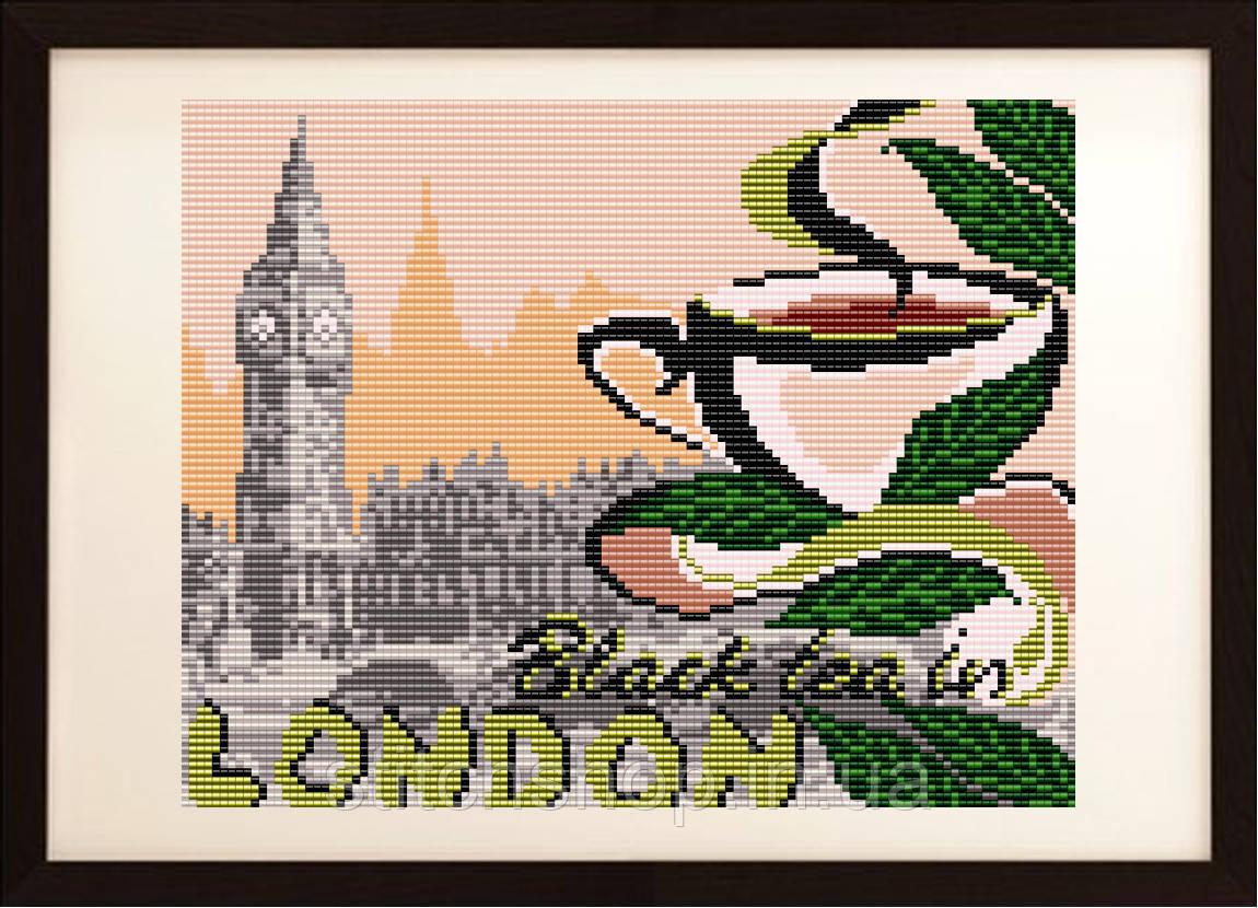 """VKA4401 """"... на черный чай в Лондон """". ArtSolo. Схема на ткани для вышивания бисером"""