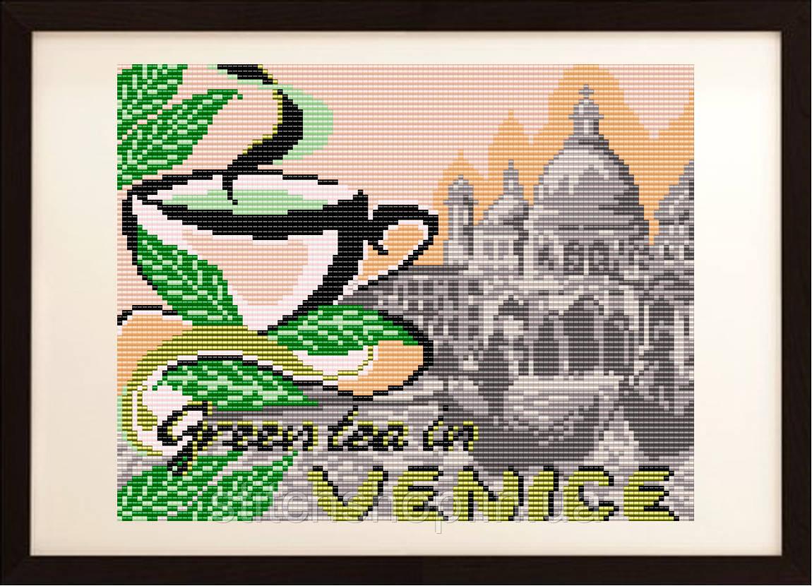 """VKA4402 """"... на зеленый чай в Венецию"""". ArtSolo. Схема на ткани для вышивания бисером"""