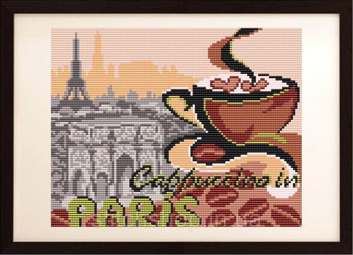 "VKA4404 ""... на капучино в Париж"". ArtSolo. Схема на ткани для вышивания бисером"