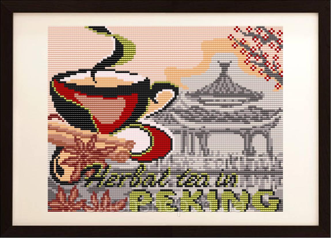 """VKA4406 """"... на травяной чай в Пекин"""". ArtSolo. Схема на ткани для вышивания бисером"""