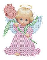 VKA5004 Ангелок с тюльпаном. ArtSolo. Схема на ткани для вышивания бисером