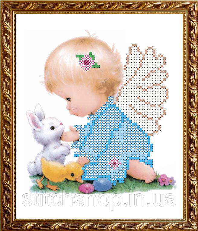 VKA5008 Ангелочек с зверушками. ArtSolo. Схема на ткани для вышивания бисером