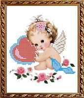 VKA5011 Ангелочек с валентинкой. ArtSolo. Схема на ткани для вышивания бисером