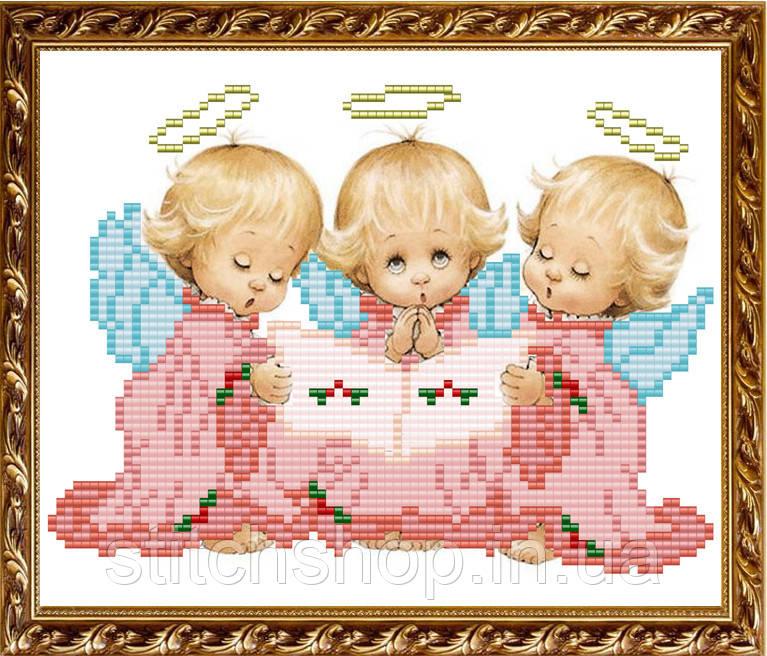VKA5014 Три ангелочка. ArtSolo. Схема на ткани для вышивания бисером