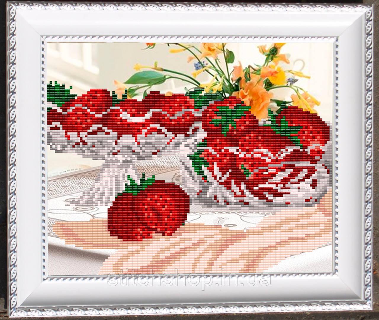 VKA4206 В хрустале. Клубника. ArtSolo. Схема на ткани для вышивания бисером