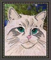 VKA4332 Белый кот. ArtSolo. Схема на ткани для вышивания бисером