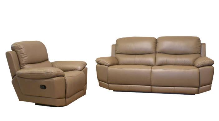 """Шкіряний диван з реклайнером """"MONTANA"""" бежевий, фото 2"""