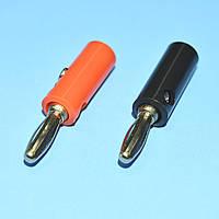 Штекер BANAN пластм. (черный+красный) под винт WTY0200  / пара