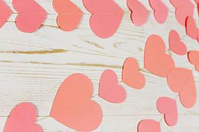 Бумажная гирлянда из сердец, персиковая