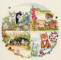 """PCE895  """"Котята всех сезонов (Cats & Seasons)"""" ANCHOR. Набор для вышивания нитками"""
