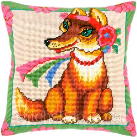 V-33 Лисичка среди цветов. Подушка. Чарівниця. Набор для вышивания нитками на канве с нанесенным рисунком
