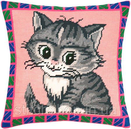 V-36 Котёнок. Подушка. Чарівниця. Набор для вышивания нитками на канве с нанесенным рисунком