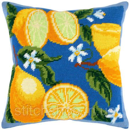 V-39 Лимоны. Подушка. Чарівниця. Набор для вышивания нитками на канве с нанесенным рисунком