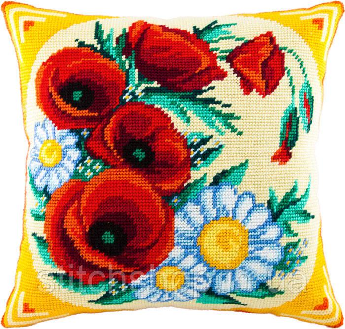 V-53 Полевой букет. Подушка. Чарівниця. Набор для вышивания нитками на канве с нанесенным рисунком