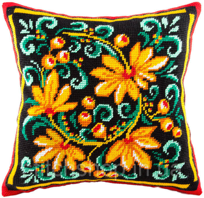 V-54 Хохлома. Подушка. Чарівниця. Набор для вышивания нитками на канве с нанесенным рисунком