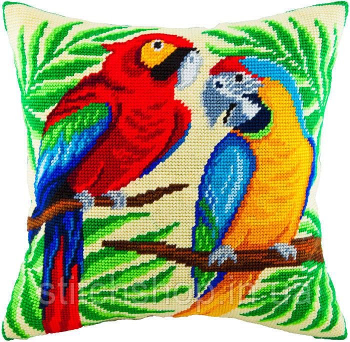 V-55 Пара попугаев. Подушка. Чарівниця. Набор для вышивания нитками на канве с нанесенным рисунком