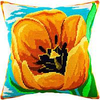 V-61 Жёлтый тюльпан. Подушка. Чарівниця. Набор для вышивания нитками на канве с нанесенным рисунком