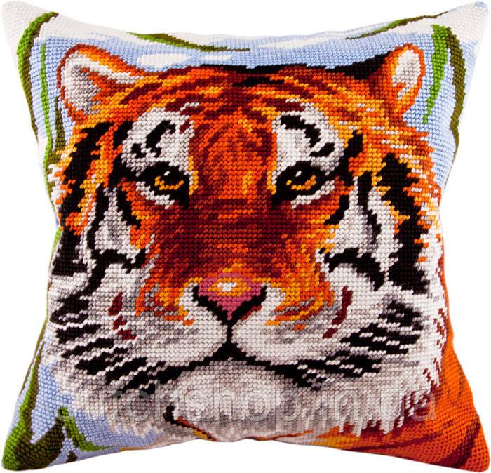 V-75 Тигр. Подушка. Чарівниця. Набор для вышивания нитками на канве с нанесенным рисунком