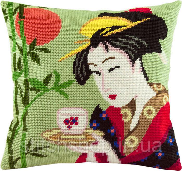 V-83 Китагава Утамаро, «Нанивайя Окита». Подушка. Чарівниця. Набор для вышивания нитками на канве с нанесенным рисунком
