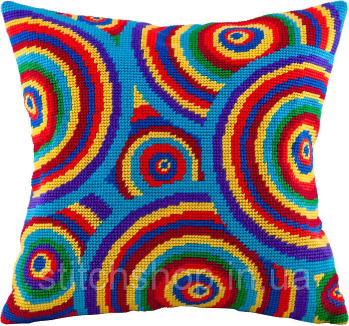 V-85 Радужные круги. Подушка. Чарівниця. Набор для вышивания нитками на канве с нанесенным рисунком