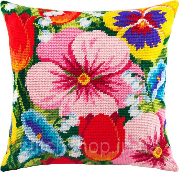 V-95 Цветочная клумба. Подушка. Чарівниця. Набор для вышивания нитками на канве с нанесенным рисунком