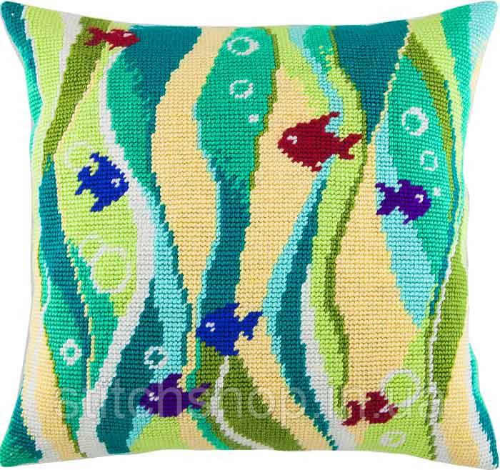 V-101 Рыбки в водорослях. Подушка. Чарівниця. Набор для вышивания нитками на канве с нанесенным рисунком
